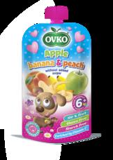 Dojčenská výživa - Jablko, banán a broskyňa bez prídavku cukru 120 g