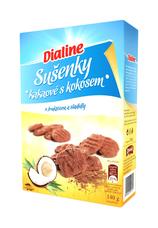 Dialine sušenky kakaové s kokosem s fruktózou a sladidly 140 g