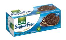 GULLÓN Digestive – Celozrnné sušenky polomáčené v tmavé čokoládě, bez cukru, se sladidly. S vysokým obsahem vlákniny. 270 g