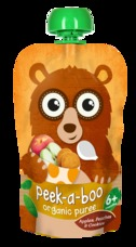 Peek-a-boo Jablko, broskev a sušenky BIO 113 g