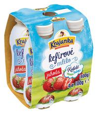 Krajanka Každé ráno kefírové mléko jahoda 4x100 g
