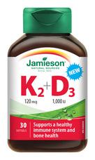 Jamieson Vitamíny K2 120 µg a D3 1 000 IU