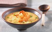 Sladkokyselá pikantní dýňová polévka s krevetami v africkém stylu