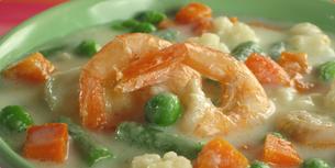 Zeleninová polévka s krevetami